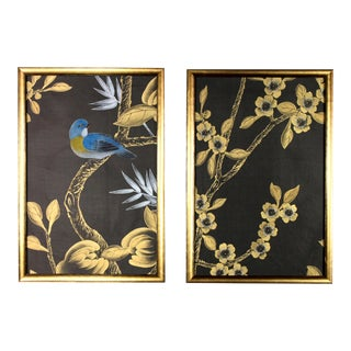 Black Silk Chinoiserie Wallpaper Diptych Paintings - 2 Pieces For Sale