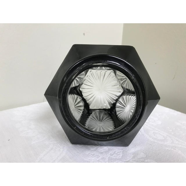 1950s Vintage Black & Clear Glass Hexagon Sconce Shade For Sale In Saint Louis - Image 6 of 8
