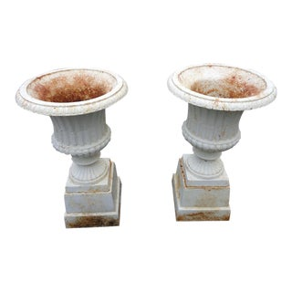 Vintage White Cast Iron Garden Urns ~ - a Pair For Sale