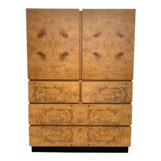 Vintage Burlwood Highboy Cabinet For Sale