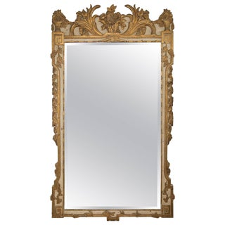 Louis XVI Style Parcel-Gilt and Cream Painted Wall Mirror For Sale