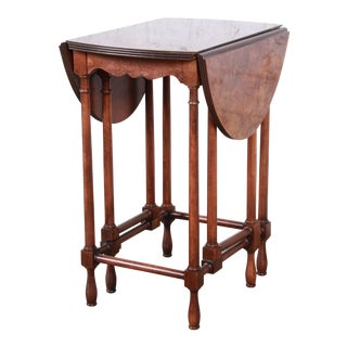 Baker Furniture Burled Walnut Gate Leg Drop Leaf Side Table For Sale