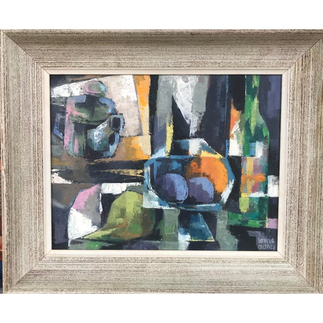 Canvas 1960s Vintage Lewis Adler Original Oil on Canvas Cubist Still Life Painting For Sale - Image 7 of 7