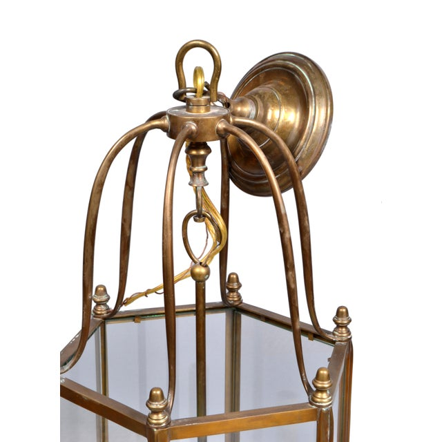 Rustic Brass and Glass Lantern Three-Light Hall Lantern For Sale - Image 4 of 6