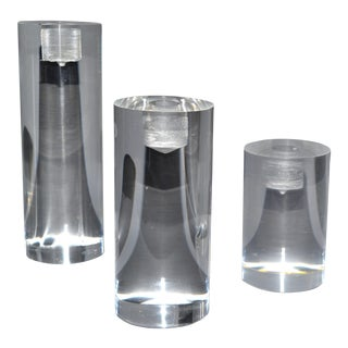Mid-Century Modern Lucite Round Candle Holders, Set of 3 For Sale