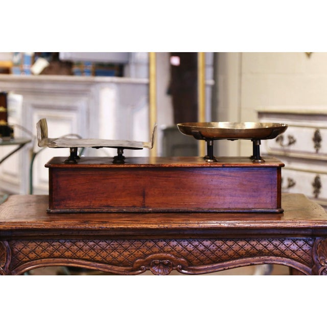 Brown 19th Century French Napoleon III Walnut and Brass Scale With Set of Weights For Sale - Image 8 of 12