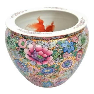 Huge Chinese Planter Jardiniere Famille Rose With Koi Goldfish - Asian Mid Century Modern - Palm Beach Boho Chic For Sale