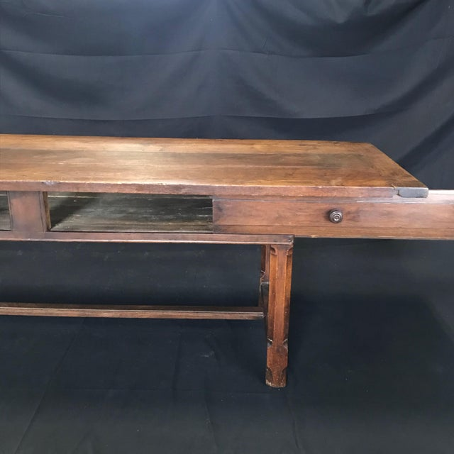 Early 19th Century Oak Farm Table With Sliding Drawers For Sale - Image 4 of 13
