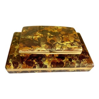 1960s Mele Jewelry Storage Boxes, Set of Two For Sale