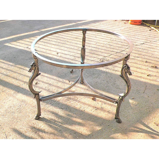 French Cast Steel Center Table With Decorative Horse Heads, Attributed to Maison Jansen For Sale - Image 3 of 5