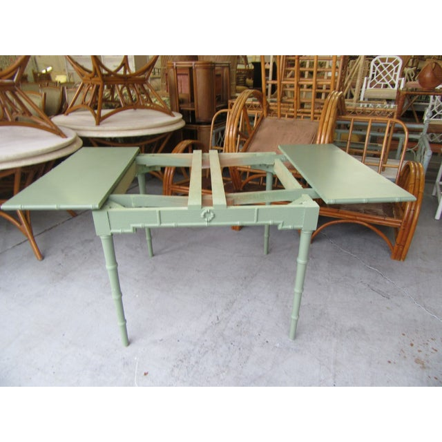 Omega Extendable Faux Bamboo Dining Table For Sale - Image 4 of 8