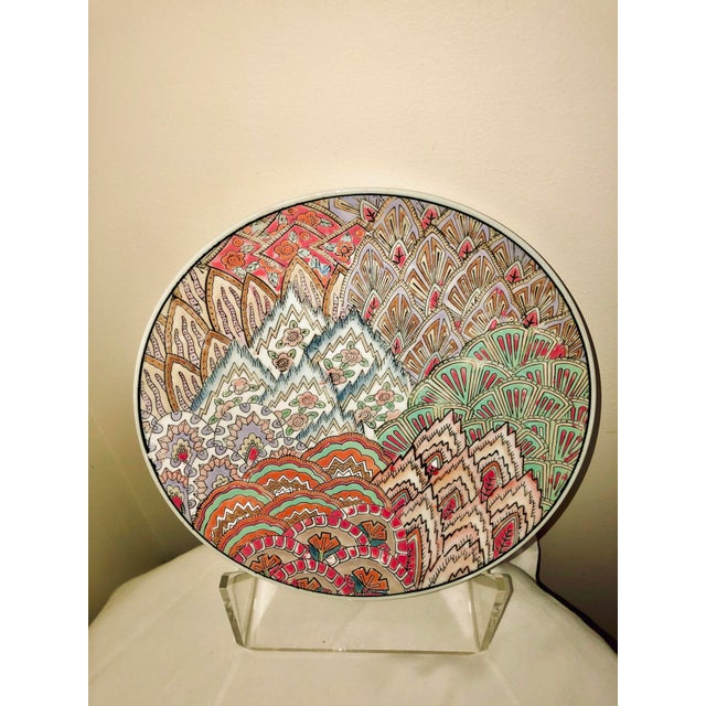 Mauve Chinese Art Deco Hand Painted Plate For Sale - Image 8 of 8