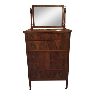 Vintage Chest of Drawers with Mirror For Sale