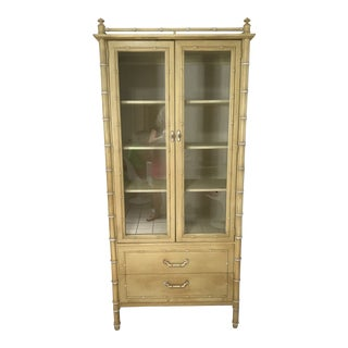 Vintage Thomasville Faux Bamboo China Cabinet For Sale