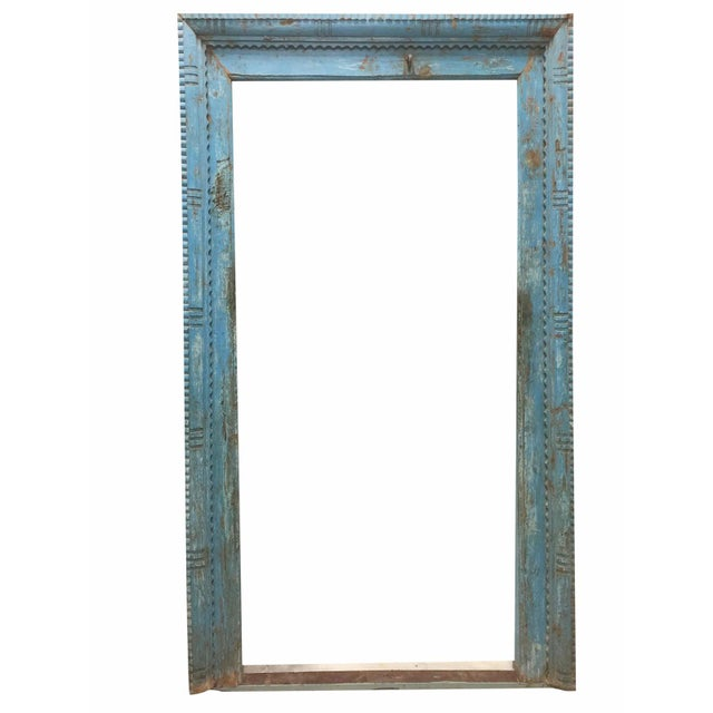 Antique Blue Rustic Tall Floor Mirror Haveli Door Frame Wall Mirror Farmhouse For Sale - Image 4 of 4