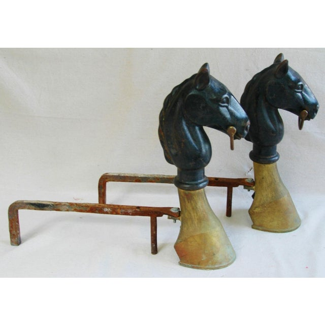 Early Iron & Brass Equestrian Horse Andirons - Pair - Image 7 of 11