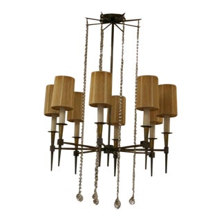Tommi Parzinger Mid-Century Brass and Glass Chandelier For Sale