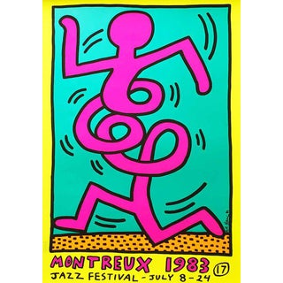 Keith Haring 'Montreux Jazz Festival I' 1983 Plate Signed Original Pop Art Poster For Sale