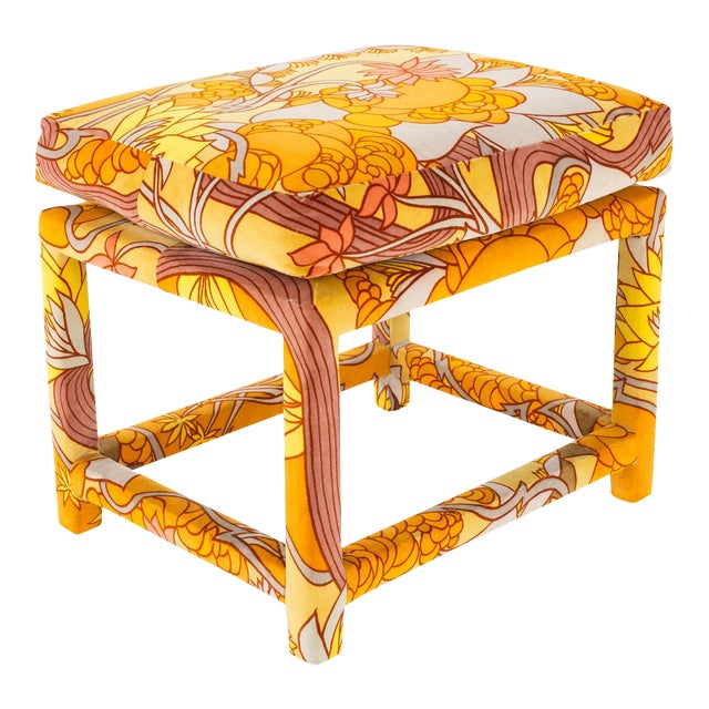 Milo Baughman for Thayer Coggin Mid Century Parsons Ottoman Stool With Jack Lenore Larsen Fabric For Sale