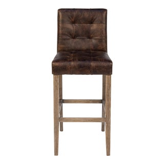 Sarreid Ltd. Sidekicks Brown Tufted Leather Bar Stool For Sale