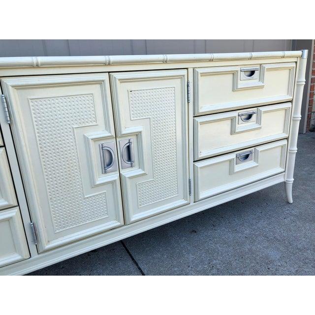 Stanley Furniture 1960s Hollywood Regency Stanley Faux Bamboo Lowboy Dresser For Sale - Image 4 of 8