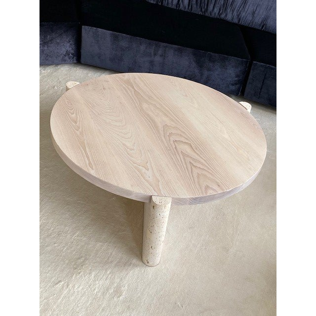Modern Limestone and Wood Coffee Table For Sale In West Palm - Image 6 of 7