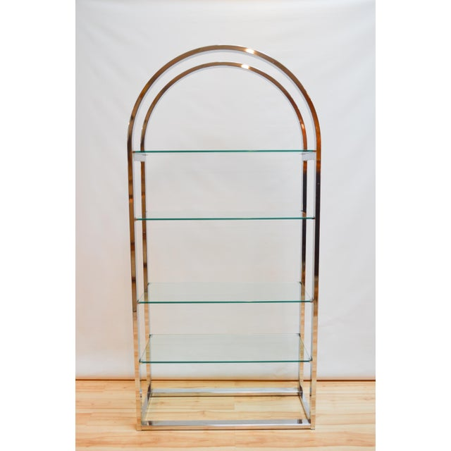 Milo Baughman-Style Arched Chrome & Glass Etagere - Image 2 of 7
