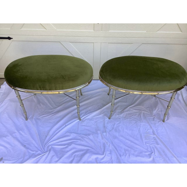 1970s Mastercraft Faux Bamboo Brass Stools, a Pair For Sale - Image 5 of 10