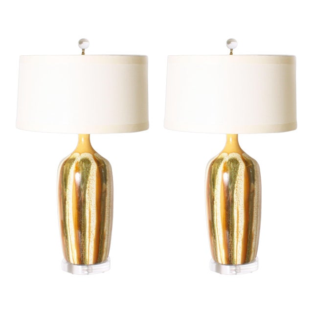 Pair of Yellow and Green Ceramic Drip Glaze Lamps, C. 1970 For Sale