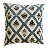Image of Blue & White Embroidered Geometric Pillow For Sale