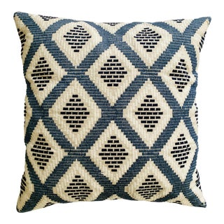 Blue & White Embroidered Geometric Pillow For Sale