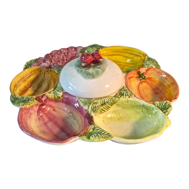1940s Mid Century Italian Hand Painted Fruit Server For Sale