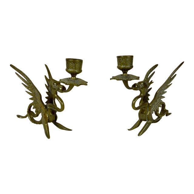 Early 20th Century Brass Dragon/Griffin Form Candle Holders - a Pair For Sale