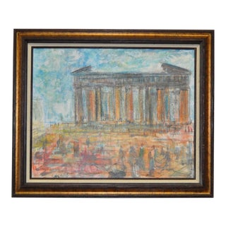 1970s Original Roman Ruins Oil Painting by Pascal Cucaro For Sale