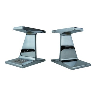 1950s Vintage Kaiser Steel Nickel-Plated I-Beam Bookends- A Pair For Sale