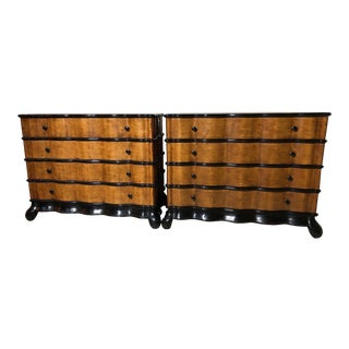 Palatial Walnut and Ebony Art Deco Chest of Drawers - A Pair For Sale