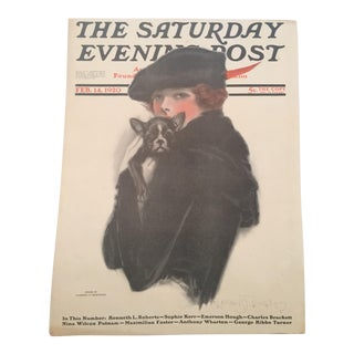 Early 20th Century Antique Iconic Saturday Evening Post Cover Poster For Sale
