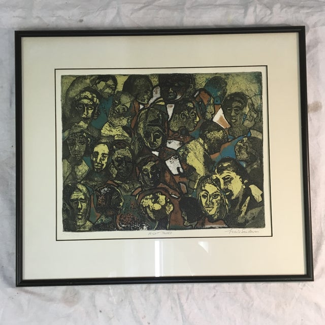 """1970s """"Night People"""" Figurative Etching by Lucile H. Sanders, Framed For Sale - Image 9 of 9"""