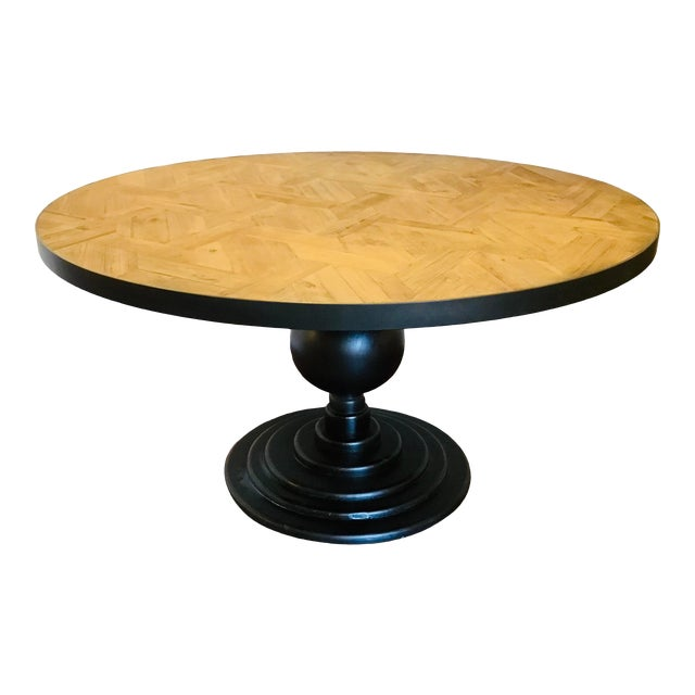 Organic Modern Reclaimed Wood Round Dining Table For Sale