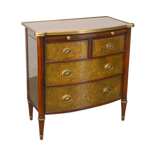 Theodore Alexander Regency Style Eglomise Flame Mahogany Bow Front Veneto Chest For Sale
