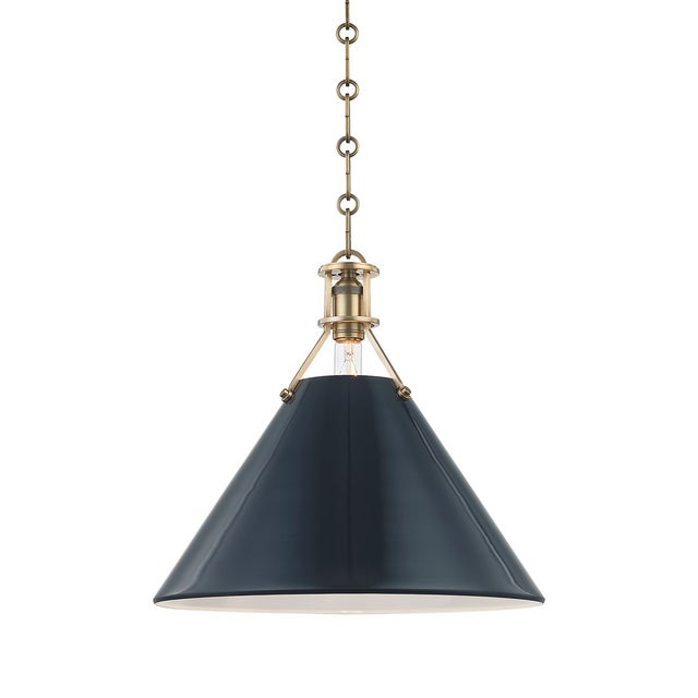 Transitional Painted No.2 1 Light Large Pendant For Sale - Image 3 of 3