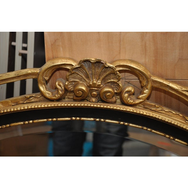 Oval Black & Giltwood Trim Mirror - Image 2 of 3