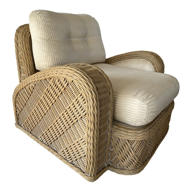 Coastal Wicker Braid Lounge Chair For Sale