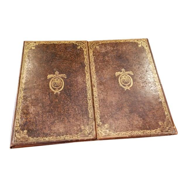 Antique Gilt Leather Double Folding Blotter For Sale
