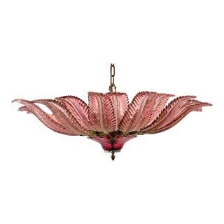 Antique Venetian Ruby Glass Chandelier, Circa 1940's. For Sale