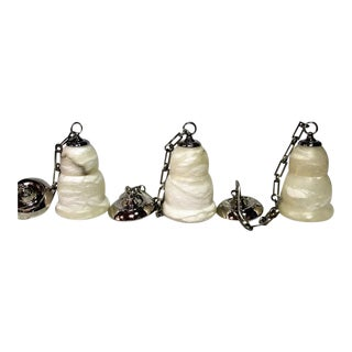 Art Deco Alabaster Pendants with Polished Fittings and Chain - Set of 3 For Sale