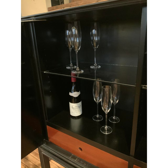 Modern 1940s Tommi Parzinger Lacquered Leather Bar Cabinet For Sale - Image 3 of 11