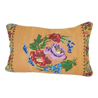 Vintage Handwoven Kilim Pillow, Lumbar Kilim Pillow French Decor Needlepoint Tapestry Aubusson Woven Kilim Rug Pillow Cover 16'' X 24'' (40 X 60 Cm) For Sale
