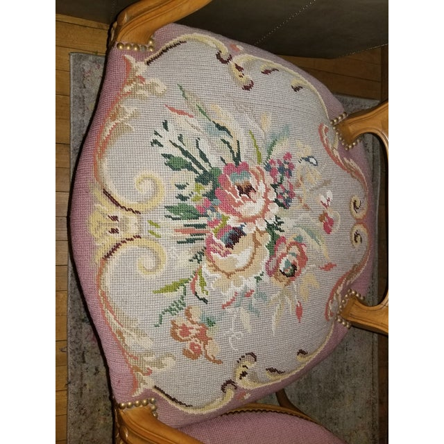 Wood 1960s Vintage Needlepoint French Chairs - a Pair For Sale - Image 7 of 11