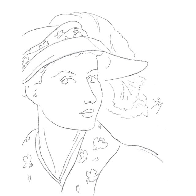 A lady in a hat with flared brim. She glances out at us, giving a slight smile. Flower patterns on her collar match the...